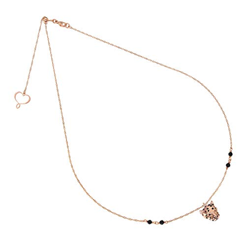 Maman et Sophie NECKLACE THIN CHAIN LEOPARDO SILVER PLATED ROSE GOLD AND SPINEL ghleoros
