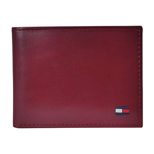 Tommy Hilfiger Herren Geldbörse Leder - Slim Bifold mit 6 Kreditkartenfächern und herausnehmbarem Ausweis-Fenster -  Rot -  Einheitsgröße