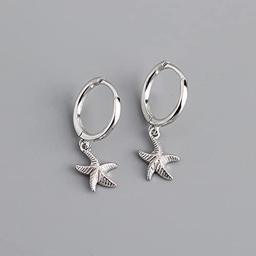 DFDLNL Pendientes para MujerPendiente de Aro con Estrella de Mar para Mujer Geometric Gold Silver SilverColor