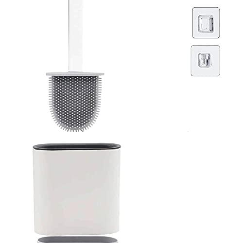 Escobilla WC, Escobillas WC de Baño de Silicona con Soporte de Secado Rápido, Inodoro para Baño Cepillo Limpieza Creativo, Puede Montarse de Pared Escobilla de Baño para Doméstico