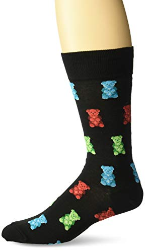 Hot Sox Men's Food and Booze Novelty Casual Crew Socks, Gummy Bears (black), Shoe Size: 6-12