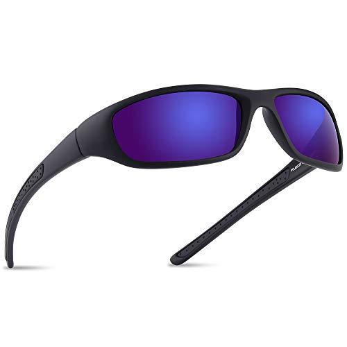 Vimbloom Sonnenbrille Herren Polarisierte Sportbrille Fahrradbrille mit UV 400 Schutz Autofahren Laufen Radfahren Golf für Angeln Herren Damen VI367 (SchwarzeMatteBlaue)