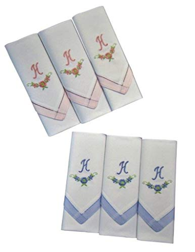 2 x 3 Stück Damen-Monogrammtaschentücher | Baumwolle mit farbiger Satinkante | Im Klarsichtkanton | In rosa und hellblau | Freie Monogrammwahl (H)