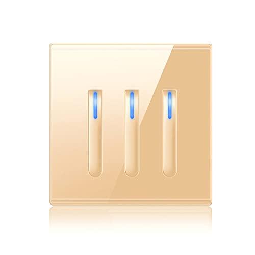 Interruptores de botón Interruptor De Enchufe Interruptor De Panel De Vidrio Diseñado para Teclas De Piano Domésticas 4 Especificaciones del Interruptor Encendido Tipo 86 Personalizado Dorado