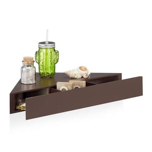 Relaxdays Hoekwandrek, driehoekige plank, lade, onzichtbare bevestiging, decoratief, MDF, HBT: 8x60x30cm, bruin