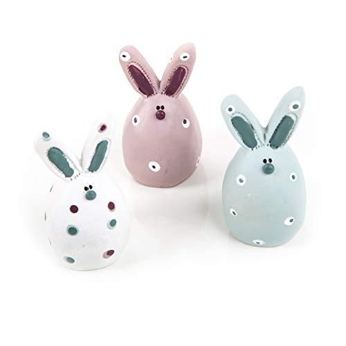 Logbuch-Verlag - 3 piccoli coniglietti pasquali a forma di coniglio, 6,5 cm, decorazione pasquale, blu, rosa, bianco, a pois, pesanti e stabili, in colori pastello, shabby chic, decorazione pasquale