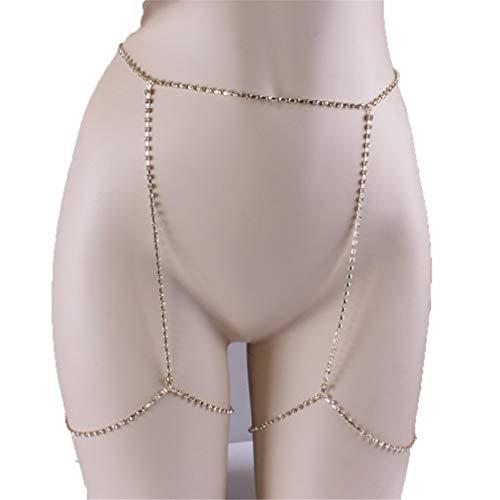 LIXIAQ1 Simulierter Diamant Sexy Bauchkette Retro Taille Gürtel Ketten Sommer Strand Bikini Badeanzug Körperschmuck, Gold