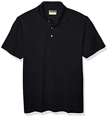 PGA TOUR Men's Airflux Short Sleeve Solid Polo-Shirts, Caviar, L