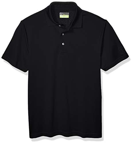 PGA TOUR Men's Airflux Short Sleeve Solid Polo-Shirts, Caviar, XXL