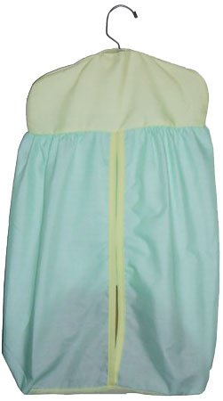Baby Doll Bedding Solid Two Tone Diaper Stacker, Mint/Yellow
