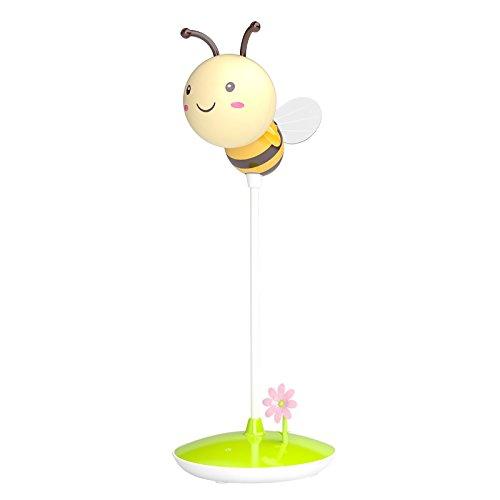 HF morning Schreibtischlampe für Kinder Mit Berührungsschalter 3 Helligkeitsstufen Dimmbar Nachttischlampe Karikaturaussehen Bienen Leseleuchten USB Wiederaufladbare Tischlampme für Kinder (Gelb)