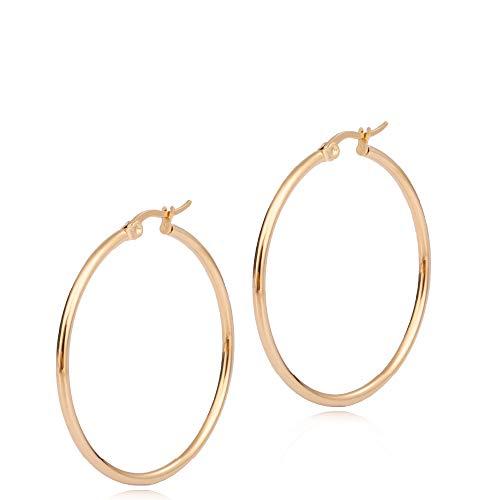 Adelina Style(アデリナスタイル) フープピアス ゴールド 外径20mm 幅2mm 1ペア リングピアス レディース メンズ サージカル ステンレス ピアス アレルギーフリー 両耳 ポーチ シルバークロス付