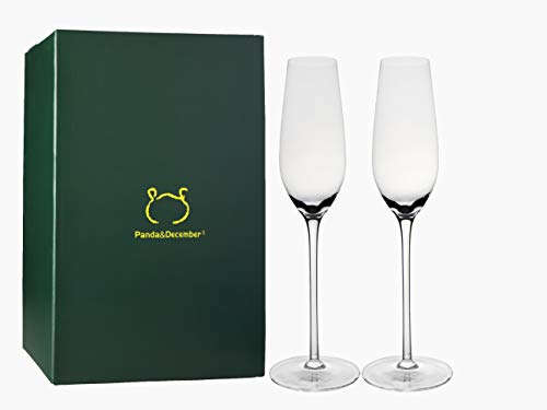 Panda&December Champagne Flute,Champagne Glasses Set of 2,Lead Free Crystal...