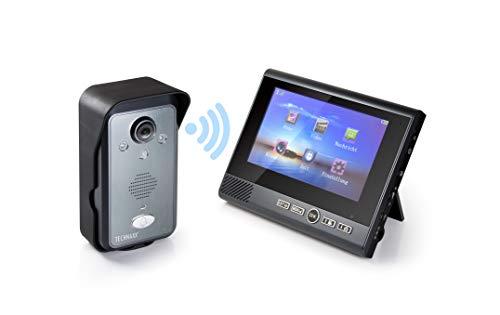 Technaxx 4770 Video Türtelefon TX-59+ Türsprechanlage, Gegensprechanlage, drahtlose Außenkamera, Innenmonitor TFT LCD, 9 V, Schwarz, Grau