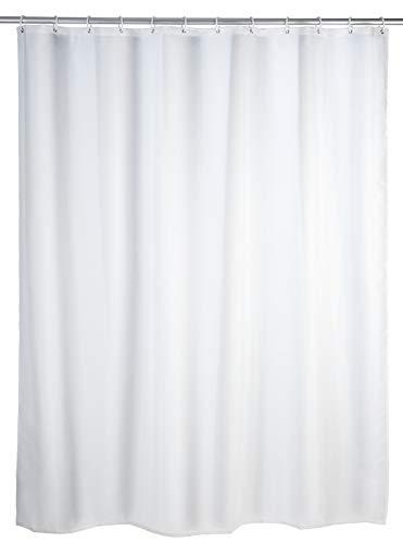 WENKO Duschvorhang Uni Weiß - Textil , waschbar, wasserabweisend, mit 12 Duschvorhangringen, Polyester, 120 x 200 cm, Weiß