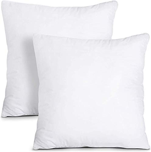 Utopia Bedding Cushion Inner Pads (Pack of 2) - Cushion Stuffer 24' x 24' (60 x 60 cm) - Cotton Blend Cover - Hollowfibre Square Pillow Inserts (Set of 2, White)