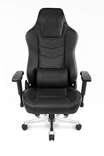 AKRacing Office Series Onyx Deluxe Executive Real Leather Desk Chair with High Backrest, Recliner, Swivel, Tilt, Rocker & Seat Height Adjustment Mechanisms, 5/10 Warranty - Black - black chair gaming