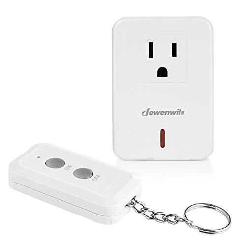 DEWENWILS Indoor Remote Control Outlet, Expandable Remote Light Switch Kit, Wireless On Off Power Switch, 100ft RF Range, Compact Design, White