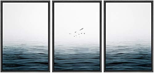 SIGNWIN 3 Piece Framed Canvas Wall Art Sea Level Landscape Canvas Prints Home Artwork Decoration for Living Room,Bedroom - 16