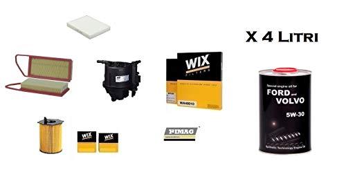 Kit Tagliando compatibile con Fiesta V Fusion 1.4 TDCI 50 Kw + 4 Litri Olio 5W30