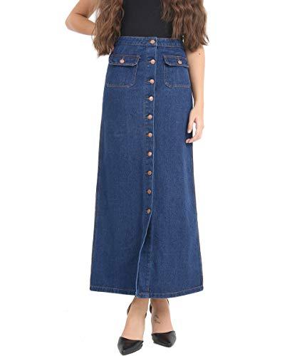SS7 nieuwe dames Denim Maxi rok, denim blauw, maten 8 tot 16