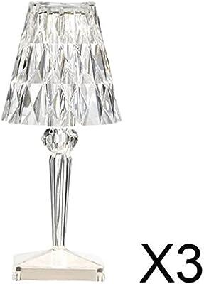 perfk 3 Lampes de Table en Acrylique avec Chargement USB, Chambre, Salon, Lampes de Table