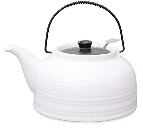 Nelly Aricola Teekanne Moderne Teekanne 1,5 Liter in weiß/schwarz aus hitzebeständiger Keramik mit Edelstahlfilter.