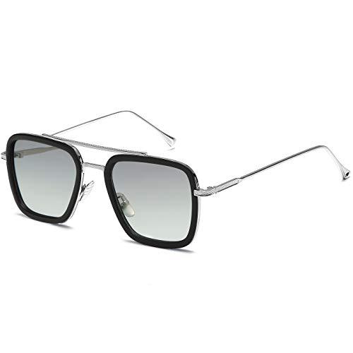 SHEEN KELLY Geschenk Retro Sonnenbrille Quadratische Brillen Metallrahmen für Männer Frauen Klassiker Sonnenbrille Piloten Silber Linsen Grau