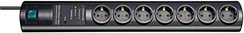 Brennenstuhl Primera-Tec DigiMaster, Steckdosenleiste 7-fach mit Überspannungsschutz 19.500A (Steckerleiste mit 2m Kabel, Schalter, Master Slave Funktion) schwarz