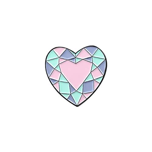 Cuarzo Esmalte Pin Púrpura Rosa Bebé Azul Cristal Metal Aleación Broches Cáliz Corazón Luna Flores Decoración Insignias Mujeres Joyería