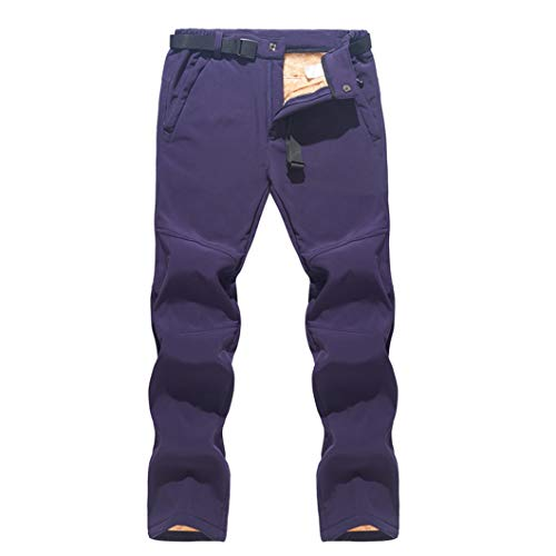 Skihose Herren Winddicht Wasserdicht Warme Schneehose Winter Ski Snowboardhose Purple Asian XL EUR L