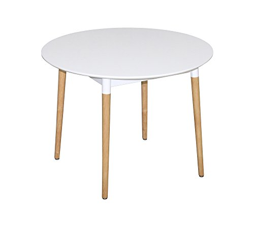 ASPECT Lena Round Dining Table, Wood White, 90 x 90 x 75 cm