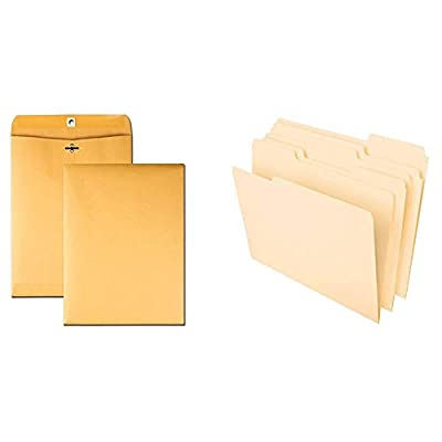 "Quality Park 9 x 12 Clasp Envelopes, Storing or Mailing Documents, 28 lb Brown Kraft, 100 per Box & Pendaflex File Folders, Letter Size, 8-1/2"" x 11"", 1/3-Cut Tabs, 100 Per Box"