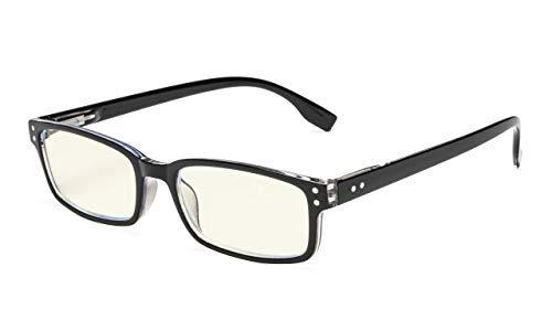 Eyekepper Classical Rectangular Frame Spring-Hinges Computer Glasses Readers Eyeglasses (Black-Transparent, 3.00)