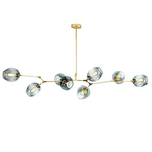 Lustre E26 Sputnik, suspension à 8 lumières avec branches en verre, hauteur réglable, lustre à soufflage manuel, plafonnier Starburst finition bronze bleu 8 lumières