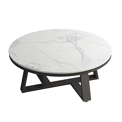 Mid Century Modern Accent Tables - Marble Coffee Table - Contemporary Style Cocktail Tables - 1 Piece Round Coffee Tables for Living Room