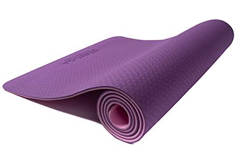STAYOGA Esterilla de Yoga Antideslizante TPE Bicolor Lila-Rosa de 183x61x0,6cm. Ideal para Todos los Niveles. Producto 100% Natural.