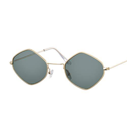 HAOMAO Gafas de Sol de polígono de Montura pequeña Retro para Mujer Gafas de Sol de Lente Transparente de diseñador de Marca de Lujo Golddeepgreen