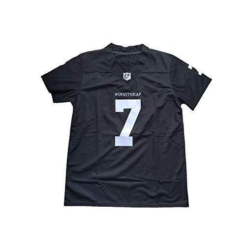 Villa Colin Kaepernick Jersey #7 ImWithKap IM with KAP All Stitched Movie Football Jersey Black White S-3XL (7 Kaepernick Black, XX-Large)