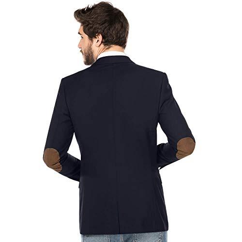 ALLBOW Blaues Sakko mit Ellenbogen-Patches, Herren Blazer, Business Casual Sport-Sakko (Patches Braun, M - 48)