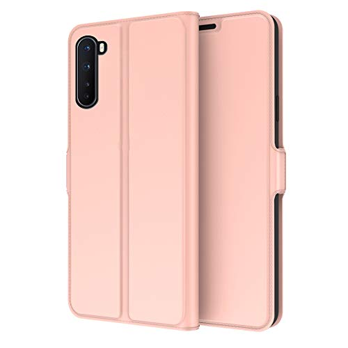INSOLKIDON Compatible with OnePlus Nord Case Back Cover Phone Protective Shell Protection Wallet Case Card Protective case Retro Ultra Thin Bracket Flip Leather (Pink)