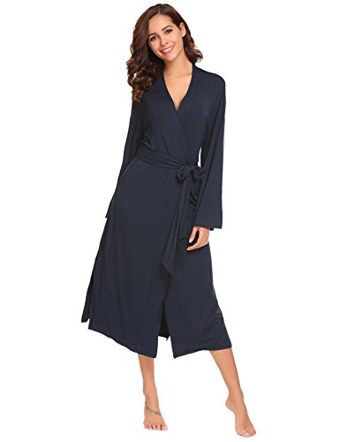 Avidlove Damen Morgenmantel lang Baumwolle Kimono Negligee Saunamantel Winter Robe V Ausschnitt Bademantel Nachthemd,XXL(EU48),Marineblau