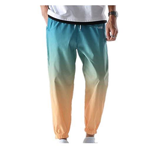 N\P Hip Hop Streetwear Joggers Pantalones Hombres Casual Cargo Pantalones Pantalones Alta Calle Cintura Elástica Gradiente Color Pantalón Hombre
