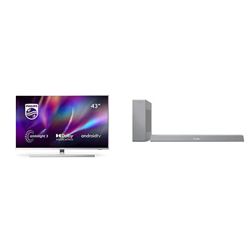 Philips 43PUS8505/12 Ambilight - Smart TV de 43' (4K UHD, P5 Engine, Dolby Vision∙Atmos, Control de Voz, Android TV) + Barra de Sonido con Subwoofer B8505/10 (Bluetooth, 240W, DTS Play-Fi) Plata