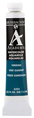 Grumbacher Academy Watercolor Paint, 7.5ml/0.25 Ounce, Viridian (A232)