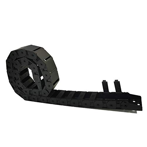 Sunhokey Black Plastic Flexible Nested Semi Closed Drag Chain Cable Wire Carrier 1M 18mm x 37mm for Electrical Machines