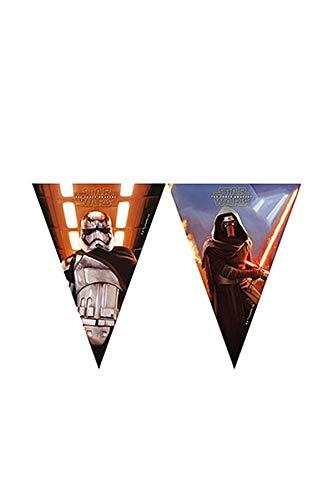 1 Wimpelkette * STAR WARS VII * für Kindergeburtstag und Motto-Party // Set Plastic Flag Banner Kinder Geburtstag Motto The Force Awakens Lucasfilm Darth Vader Yoda Krieg der Sterne Disney Episode Kylo Ren