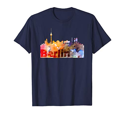 Skyline Berlin Deutschland Hauptstadt Watercolor Look T-Shirt