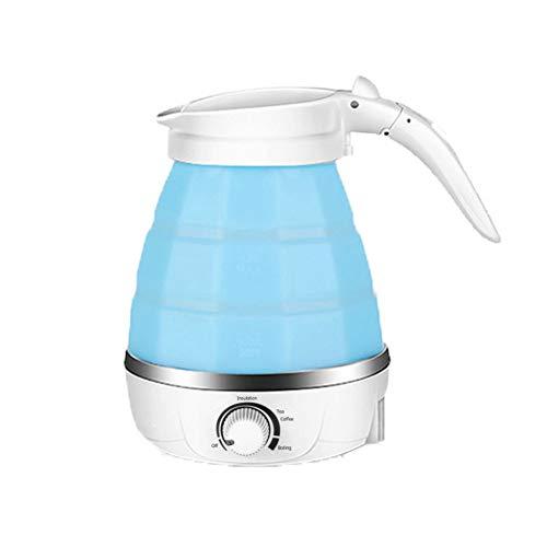 Portatil Hervidor Electrico, Plegable Multifuncion, Actualizado Mini Silicona Sin BPA, Hervir La Proteccion En Seco Para Oficina, Viaje, Viaje De Negocios (Azul,600ML)