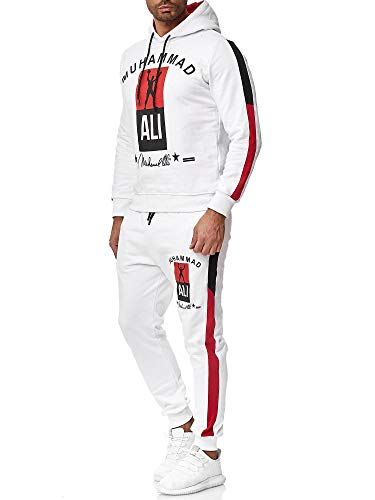 OneRedox Herren Jogginganzug Trainingsanzug Sportanzug Boxen Ali Modell 3462 Weiss S